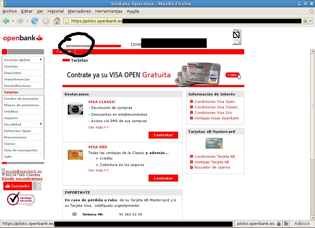 Web Openbank tarjetas cortadas